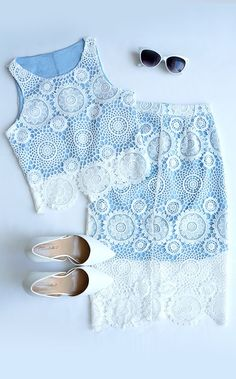 The North Country Flair White and Blue Lace Two-Piece Dress will be the coolest thing around! Crisp white lace covers a light blue crop top and pencil skirt. Dressy Outfits, Summer Outfits, Cute Outfits, Look Fashion, Fashion Outfits, Elegantes Outfit, Two Piece Dress, Sheila, Blue Lace