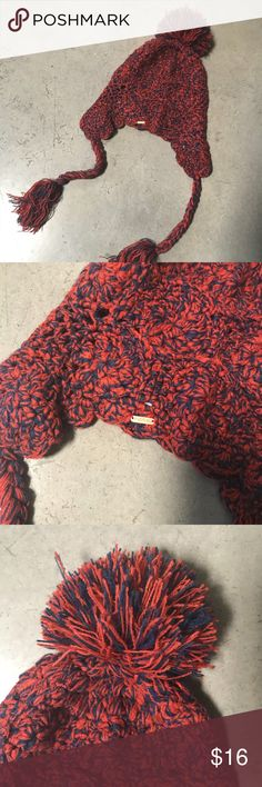 Free People Pom Pom Beanie Ski Cap Tassels Touque Red and blue touque from Free People, brand new never worn. NWOT Free People Accessories Hats