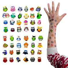 Oblique-Unique® Eulen Tattoo Set 48 Stück Kindertattoos Tattoo verschiedene Motive Kinder Spielen