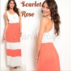 Beautiful Coral & Cream Maxi Dresses THESE GORGEOUS CORAL AND CREAM SLEEVELESS MAXI DRESSES HAVE ARRIVED!! This is perfect for Spring & Summer. I have S(2-4), M(6-8), and L(10-12) and they fit true to size. The material is soft and silky, and it looks very flattering for all body types. These are so much more stunning in person.. And the material is soooo soft! Please let me know if you have any questions! POSH on, POSHERS!! ❤️ Scarlet Rose Boutique Dresses Maxi