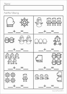 Winter Preschool Math and Literacy No Prep worksheets and activities. A page from the unit: winter addition with pictures
