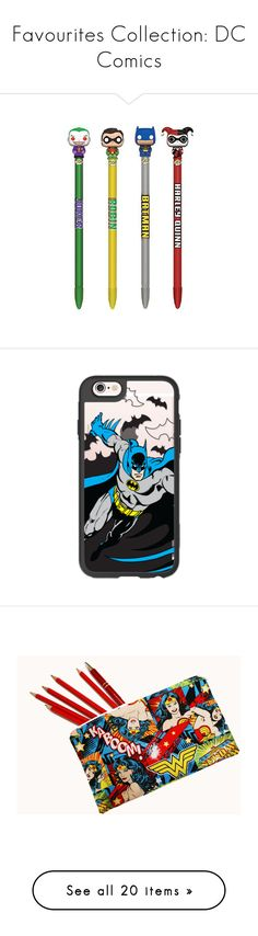 """""""Favourites Collection: DC Comics"""" by daisyb4byy ❤ liked on Polyvore featuring home, home decor, stationery, fillers, books, notebooks, accessories, tech accessories, phone cases and phone"""