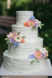 Love the ruffle look! - Rustic Wedding Cake | by Erica O'Brien | TheCakeBlog.com