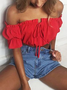 Red Off Shoulder Crop Top