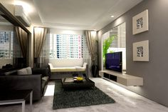 Cool Modern Apartment Living Room Design With Black Leather Sofa And Square Coffee Table Over Fur Rug Side Also Tv