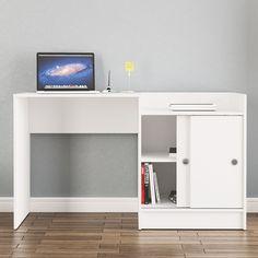 Para garantir foco e conforto na hora de estudar e trabalhar opte pelas escrivaninhas com armários ou gavetas para deixar os materiais em fácil alcance.