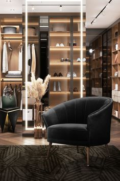 The Maya Armchair is fit for kings, and this wonderfully luxurious closet greatly benefits from the intense majestic nature of the wonderful chair! The room's style is perfectly fitting for the product's velvety nature, allowing for a more lush and natural feeling to set in, decidedly turning the space into a provider of intense moments.