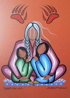 Grow from love by Simone McLeod kp Native American Paintings, Native American Pictures, Native American Artists, Native American Indians, Native American Drawing, Indian Paintings, Abstract Paintings, Art Paintings, Native Drawings
