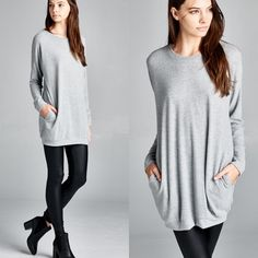 """Absent Traveller"" Soft Sweater Top Tunic Soft sweater top with front pockets. Available in heather grey and ivory. This listing is for the HEATHER GREY. Brand new. True to size. NO TRADES. Bare Anthology Tops Tees - Long Sleeve"