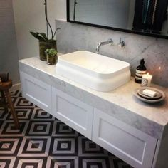 Inspiration for bathroom vanities in Master Ensuite, Main Bathroom and Guest Ensuite. Shaker style drawers (in matte black rather than white) with marble benchtops. Bathroom Vanity Units, Laundry In Bathroom, Bathroom Vanities, Downstairs Bathroom, Bathroom Furniture, Bad Inspiration, Bathroom Inspiration, Bathroom Styling, Bathroom Interior Design