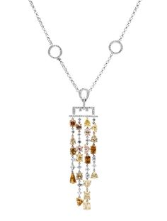 Rosendorff Colours Of The Earth Collection Champagne, Cognac, Diamond and Pink Diamond Pendant