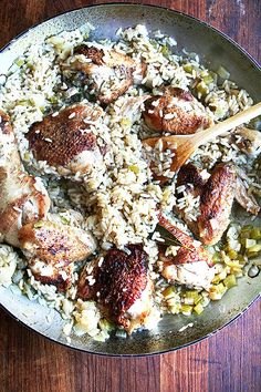 Warning: this is NOT your standard chicken and rice dinner. This one-pot meal allows the chicken to braise in onions and celery, creating it's own rich broth. Try that on for size! Recipe originally featured on Alexandra's Kitchen and written by Alexandra Stafford, who is part of POPSUGAR Select Food.