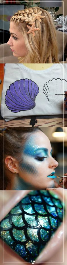 Vuelvete un sirena este halloween. Advertisements Become a mermaid this Halloween. Costume Halloween, Halloween Party, Halloween Mermaid, Little Mermaid Parties, The Little Mermaid, Holidays Halloween, Halloween Make Up, Karneval Diy, Beauty And More