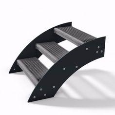 Design Treppe Außentreppe Stahlwangentreppe mit pulverbeschichteten Wangen und Gitterroststufen