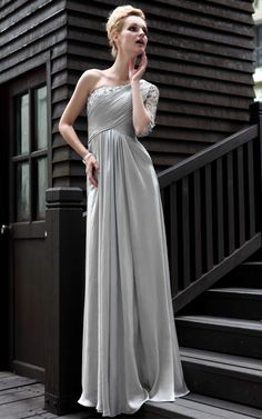 f2dbd11c1941 New Elegant One Shoulder Satin Gray Gown Prom Long evening dress - Merpher.