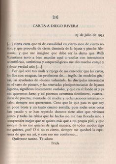Carta de Frida Kahlo a Diego Rivera. De esos amores que no existen ya.: