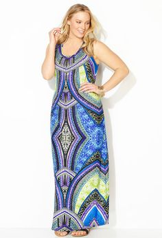 d1a92afabb7 Embellished Abstract Swirl Maxi Dress Plus Size Maxi Dresses