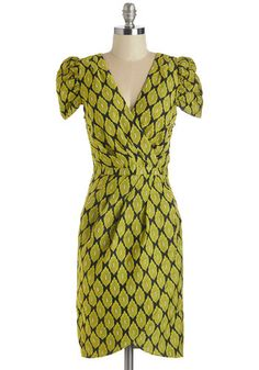 I Be-Leaf in a Thing Called Love Dress - Mid-length, Woven, Green, Black, Print, Party, Sheath, Cap Sleeves, V Neck
