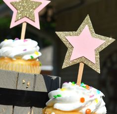 Gold Glitter and Baby Pink Star Cupcake Toppers - Twinkle Little Star Set of 12 Star Toppers Baby Shower, Bridal, Birthday Party!