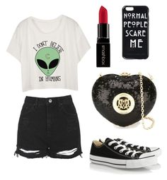 """""""Im not normal whatsoever"""" by gabbygainer ❤ liked on Polyvore featuring Topshop, Converse, Smashbox, Love Moschino, women's clothing, women's fashion, women, female, woman and misses"""