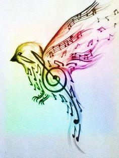 ... blue. Tattoo Ideas Awesome Tattoo Music Note Bird Tattoo Tattoos