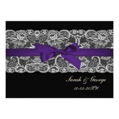 lace and ribbon purple black wedding invites by www.mgdezigns.com