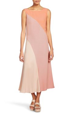 Escada Dress Dacking. Chic ESCADA SPORT dress in fresh, summery crêpe viscose with a beautifully draped skirt. The diagonal color block design combined with the ankle-length cut creates an exciting silhouette.
