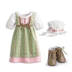 American Girl Caroline's Work Dress for Dolls NEW NIB Farm Outfit Caroline Green