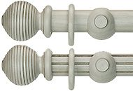 Renaissance Duet 50mm Wood Curtain Pole, Chateau Grey, Beehive