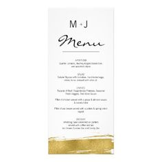 Modern Faux Gold Brushstroke Wedding Menu Card - white gifts elegant diy gift ideas