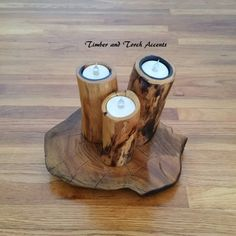 Wood tea light holder. Add a woodsy touch to your wedding table or home décor with this rustic tea light holder. Made from natural wood