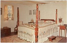 Original color photo post card of Atwood House - Upstairs Bedroom circa 1970s. The Old House Bedroom used to be part of the tour until the late 1970's when it was determined that access to the upstairs was too dangerous to take visitors (stairs are extremely steep and narrow). Bedroom is no longer decorated and is instead used for museum storage. http://www.chathamhistoricalsociety.org/ #historicchatham, #chatham, #chathamhistoricalsociety, #atwoodhouse
