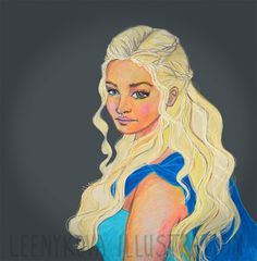 Khaleesi drawing Mother of Dragons Game of Thrones Leenykova Illustration