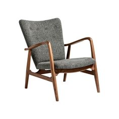 Button-tufted detailing and gray wool combine to make a chairthat leaves no detail to chance.Theauthentic walnut frame provides rustic charm, creating a lounge chair that embracesboth modern and tr...  Find the AmericanWalnut Lounge Chair, as seen in the 3 Tips for Going Mid-Century Collection at http://dotandbo.com/collections/3-tips-for-going-mid-century?utm_source=pinterest&utm_medium=organic&db_sku=94768