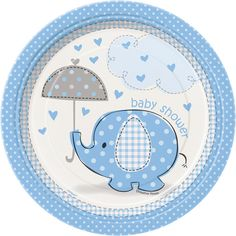 Blue Elephant & Umbrella Baby Shower Decorations