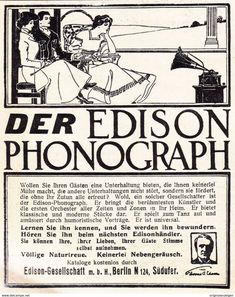 Werbung - Original-Werbung/ Anzeige 1908 - EDISON - PHONOGRAPH - BERLIN - ca. 80 x 110 mm