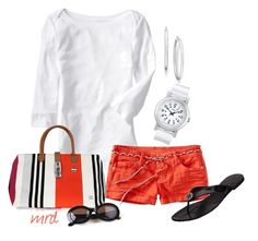 """""""Orange Shorts"""" by michelled2711 ❤ liked on Polyvore featuring Old Navy, Timex, La Bagagerie, Tory Burch, House of Harlow 1960, top handle bags, shorts, flip flops and 3/4 length t-shirt"""
