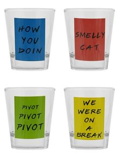 'We were on a break!' Indulge in some serious drinking games with this hilarious shot glass set. Featuring iconic quotes from hit TV show 'Friends', these will provide hours of endless fun. Official merchandise.