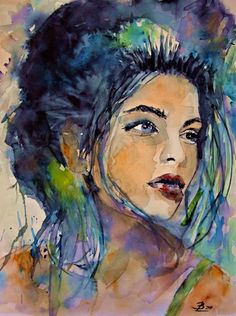 """My Blue Dreams by Brigit Lehmann * watercolor painting*"" Watercolor Portraits, Watercolor Paintings, Watercolors, Heart Art, Woman Painting, Face Art, New Art, Fantasy Art, Cool Art"