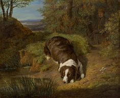 Öl auf Holz 16 × 19,5 cm Schätzpreis: 25000 - 50000 € Modern Art, Contemporary Art, Ferdinand, Private Property, Hunting Dogs, Dog Art, Counting, 19th Century, Art Nouveau