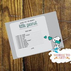 INSTANT DOWNLOAD  Wishes for Baby Snoopy Baby Shower by WordsToArt, $6.00