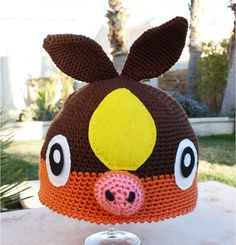 Items similar to Tepig Pokemon Inspired Hat With Curly Pig Tail: Japanese Fire Pig Anime Kawaii Handmade Crochet Beanie Hat on Etsy Crochet Animal Hats, Crochet Adult Hat, Crochet Hood, Crochet Kids Hats, Crochet Beanie Hat, Knitted Hats, Pokemon Crochet Pattern, Crochet Patterns, Pokemon Hat