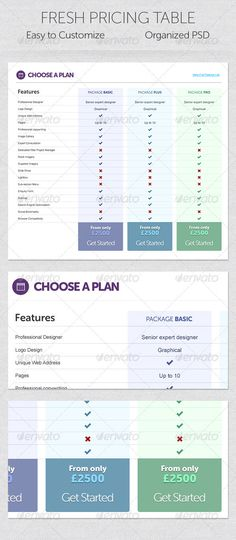 Fresh Pricing Table - GraphicRiver Item for Sale
