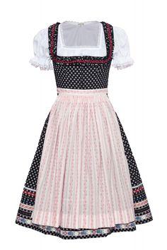 Dirndl schwarz mit weißen Punkten, rosa Schürze. Lena Hoscheck 2012.
