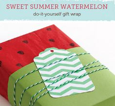 Adorable DIY Watermelon Wrapping Paper tutorial. Lots of easy, frugal ideas - use what you have.