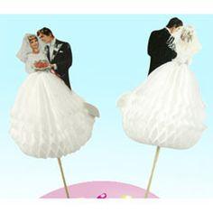 Wedding Cupcake & Cake Decorations - Retro Bride & Groom Cupcake Picks, Set of 12 - fancyflours.com