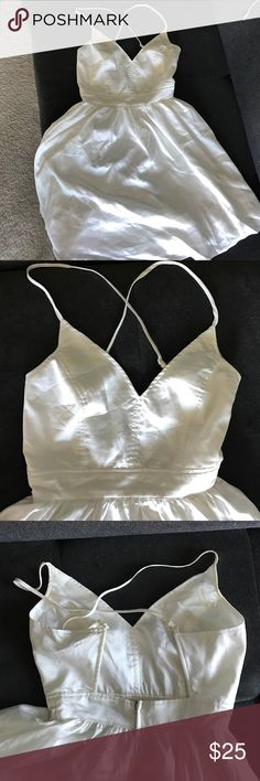 Silk White Party Dress - Size Small - Like New Silk White Party Dress - Size Small - Like New - Worn once purchased at local boutique - super cute and fun adjustable strap dress - zipped back -Brand Double Zero Urban Outfitters Dresses