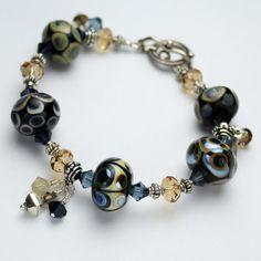 Lampwork Bracelet  Sterling Silver by StoneDesignsbySheila on Etsy, $169.00