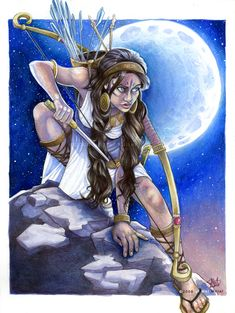 "Artemis is the Olympian goddess of the hunt, wilderness, wild animals, virginity and fertility. She is the helpers of midwives as a goddess of birth as well as the protectress of young girls. Artemis closely guarded her own chastity and gave grave punishment to any man who attempted to dishonor her in any form. She is often associated with the moon and is the twin sister of Apollo. (Photo: ""Artemis Moon"" by =Javadoodle)"