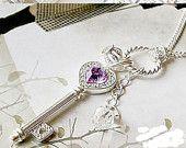 Purple Heart & Key Necklace
